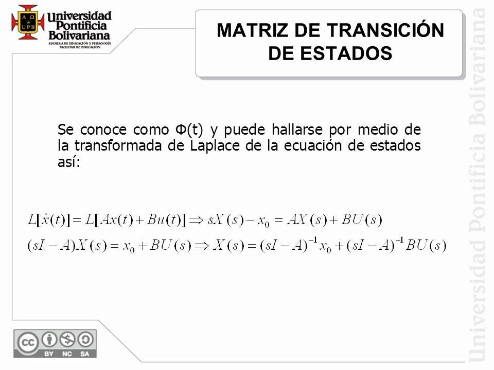 Puede observarse que el comportamiento de los estados en el dominio de la frecuencia, si las entradas del sistema se hacen cero, se puede determinar mediante la matriz inv(sI-A), si se conocen los estados iniciales del sistema.