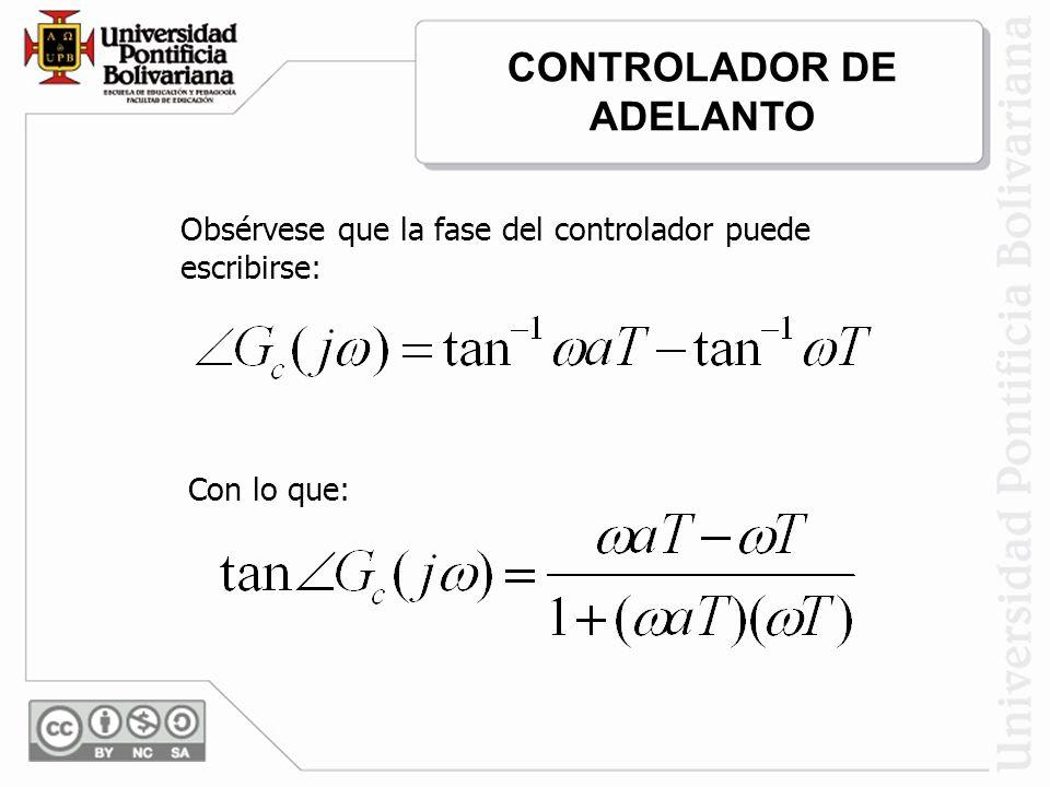 Obsérvese que la fase del controlador puede escribirse: Con lo que: CONTROLADOR DE ADELANTO