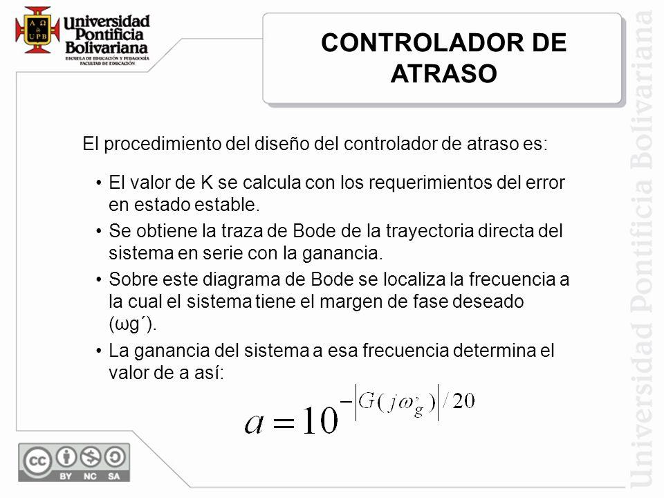 El procedimiento del diseño del controlador de atraso es: El valor de K se calcula con los requerimientos del error en estado estable. Se obtiene la t