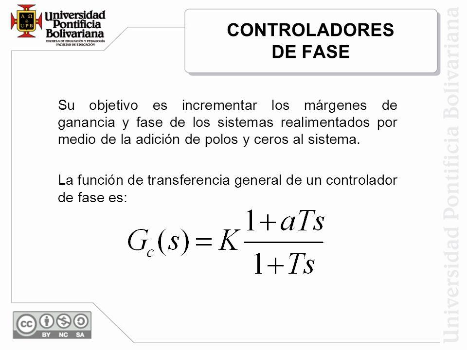 CONTROLADORES DE FASE Su objetivo es incrementar los márgenes de ganancia y fase de los sistemas realimentados por medio de la adición de polos y cero