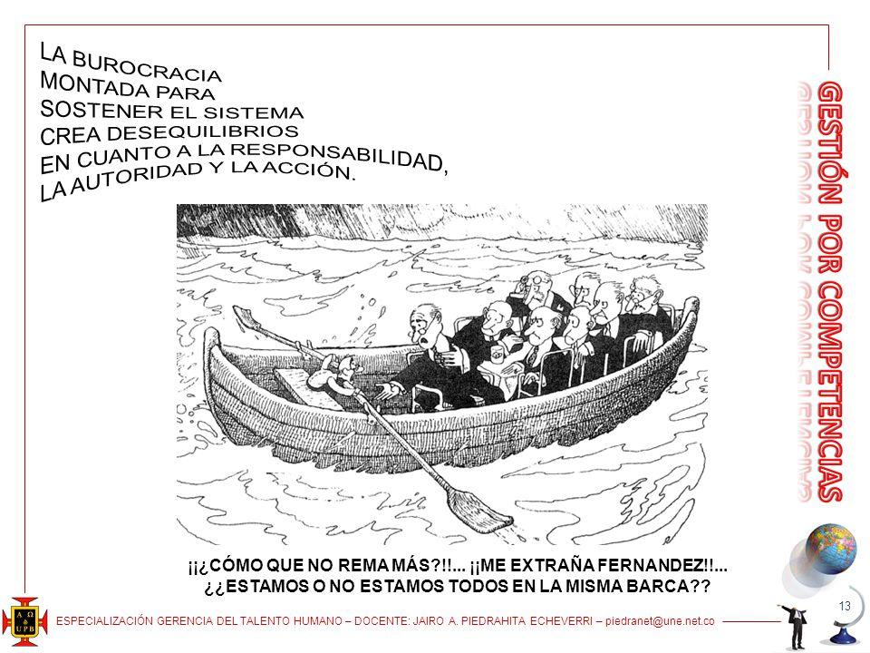 ESPECIALIZACIÓN GERENCIA DEL TALENTO HUMANO – DOCENTE: JAIRO A. PIEDRAHITA ECHEVERRI – piedranet@une.net.co 13 ¡¡¿CÓMO QUE NO REMA MÁS?!!... ¡¡ME EXTR