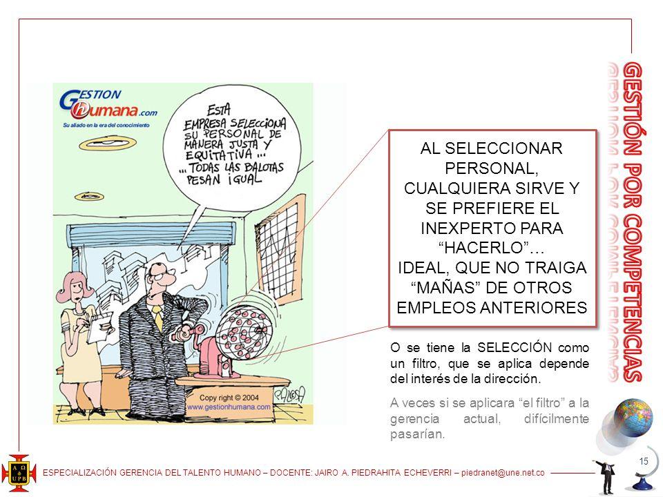 ESPECIALIZACIÓN GERENCIA DEL TALENTO HUMANO – DOCENTE: JAIRO A. PIEDRAHITA ECHEVERRI – piedranet@une.net.co 15 AL SELECCIONAR PERSONAL, CUALQUIERA SIR