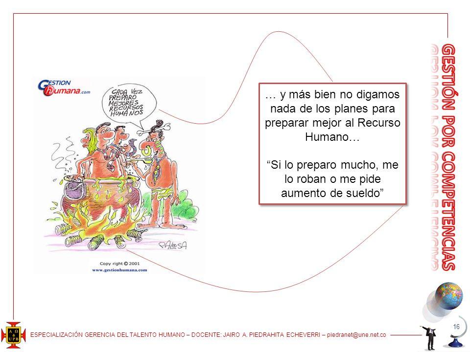ESPECIALIZACIÓN GERENCIA DEL TALENTO HUMANO – DOCENTE: JAIRO A. PIEDRAHITA ECHEVERRI – piedranet@une.net.co 16 … y más bien no digamos nada de los pla
