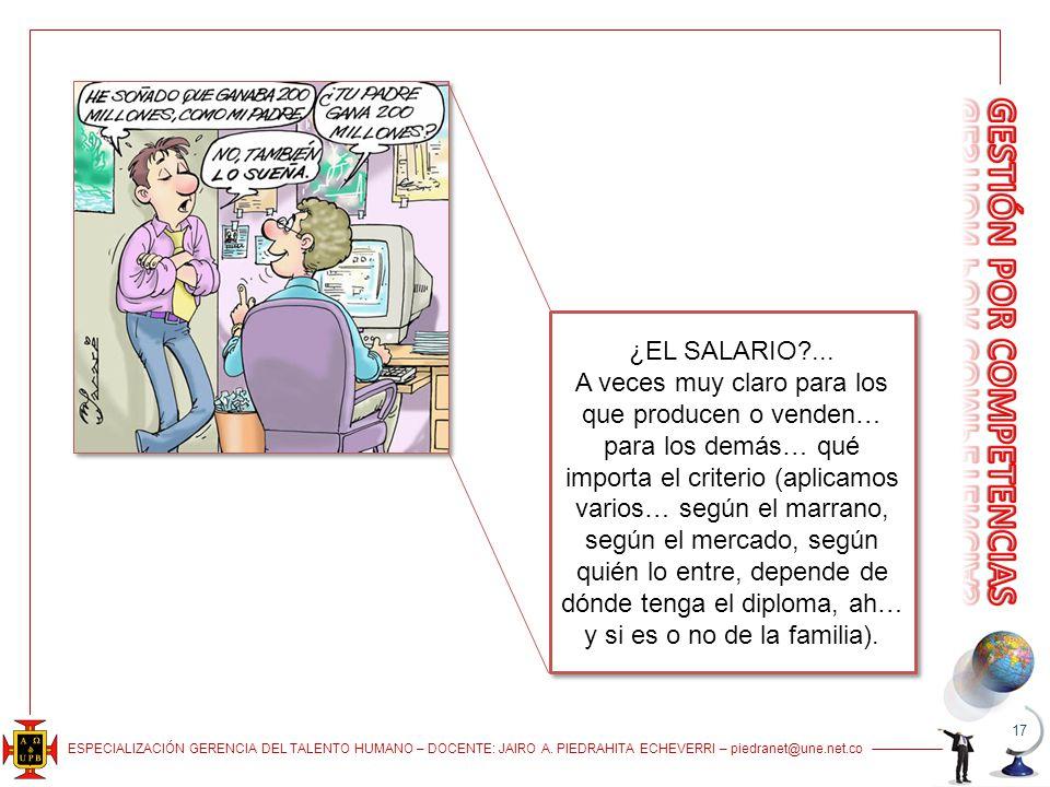 ESPECIALIZACIÓN GERENCIA DEL TALENTO HUMANO – DOCENTE: JAIRO A. PIEDRAHITA ECHEVERRI – piedranet@une.net.co 17 ¿EL SALARIO?... A veces muy claro para