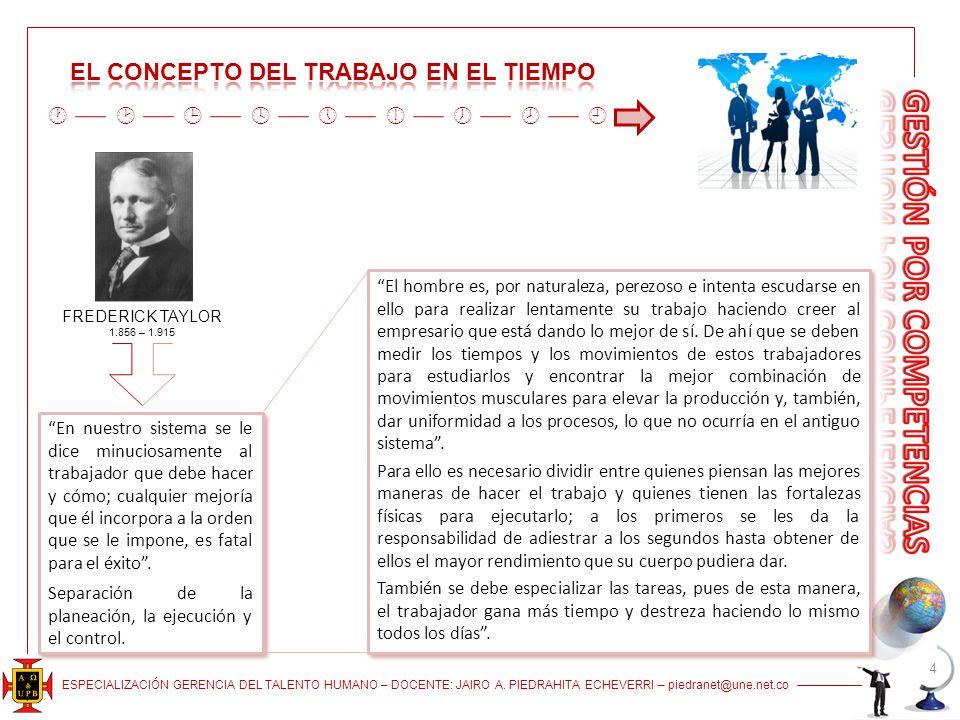 ESPECIALIZACIÓN GERENCIA DEL TALENTO HUMANO – DOCENTE: JAIRO A. PIEDRAHITA ECHEVERRI – piedranet@une.net.co 4 FREDERICK TAYLOR 1.856 – 1.915 En nuestr