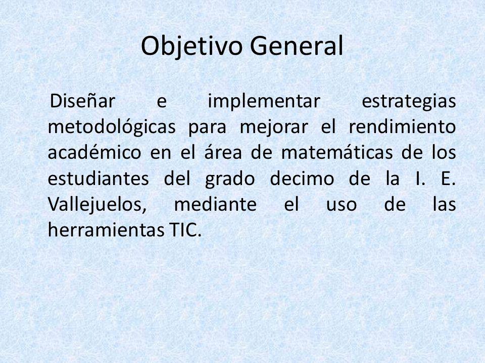 Objetivo General Diseñar e implementar estrategias metodológicas para mejorar el rendimiento académico en el área de matemáticas de los estudiantes de