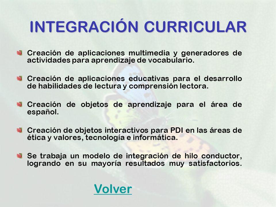 INTEGRACIÓNCURRICULAR INTEGRACIÓN CURRICULAR Creación de aplicaciones multimedia y generadores de actividades para aprendizaje de vocabulario. Creació