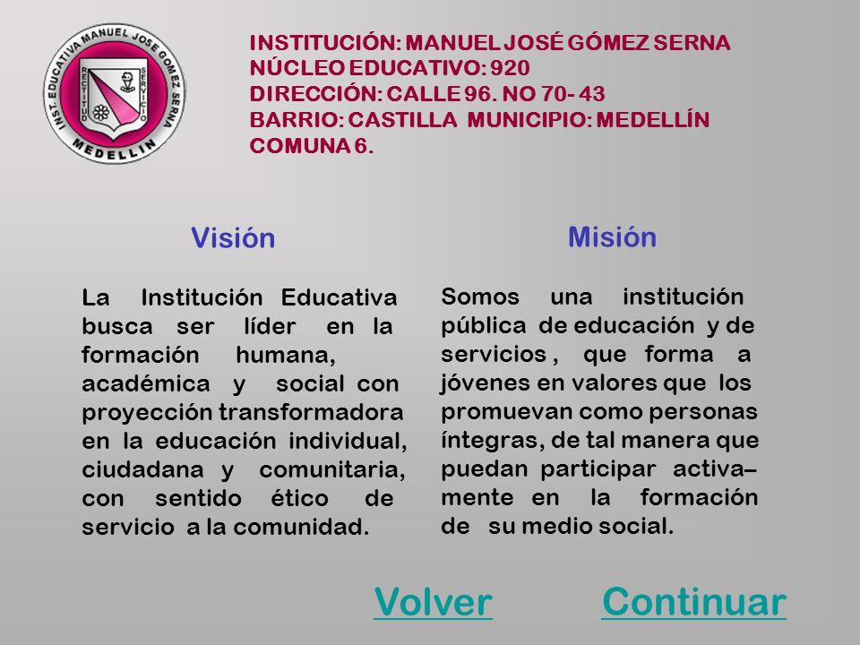 INSTITUCIÓN: MANUEL JOSÉ GÓMEZ SERNA NÚCLEO EDUCATIVO: 920 DIRECCIÓN: CALLE 96. NO 70- 43 BARRIO: CASTILLA MUNICIPIO: MEDELLÍN COMUNA 6. Visión La Ins