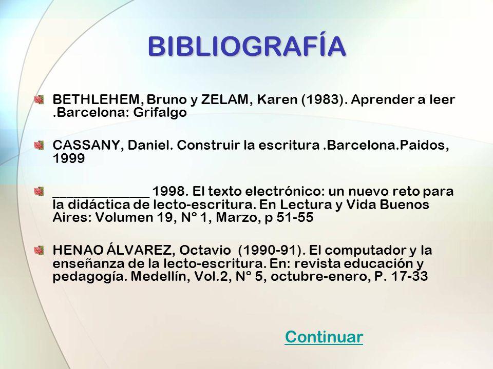 BIBLIOGRAFÍA BETHLEHEM, Bruno y ZELAM, Karen (1983). Aprender a leer.Barcelona: Grifalgo CASSANY, Daniel. Construir la escritura.Barcelona.Paidos, 199