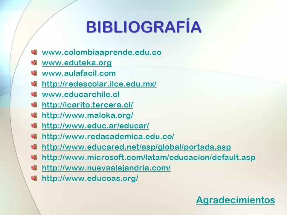 www.colombiaaprende.edu.co www.eduteka.org www.aulafacil.com http://redescolar.ilce.edu.mx/ www.educarchile.cl http://icarito.tercera.cl/ http://www.m