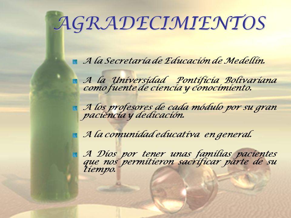 AGRADECIMIENTOS A la Secretaría de Educación de Medellín. A la Universidad Pontificia Bolivariana como fuente de ciencia y conocimiento. A los profeso