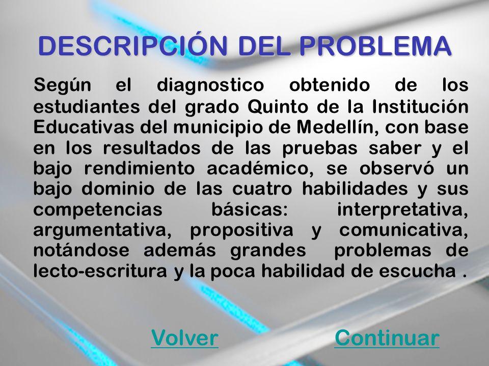 DESCRIPCIÓN DEL PROBLEMA Según el diagnostico obtenido de los estudiantes del grado Quinto de la Institución Educativas del municipio de Medellín, con