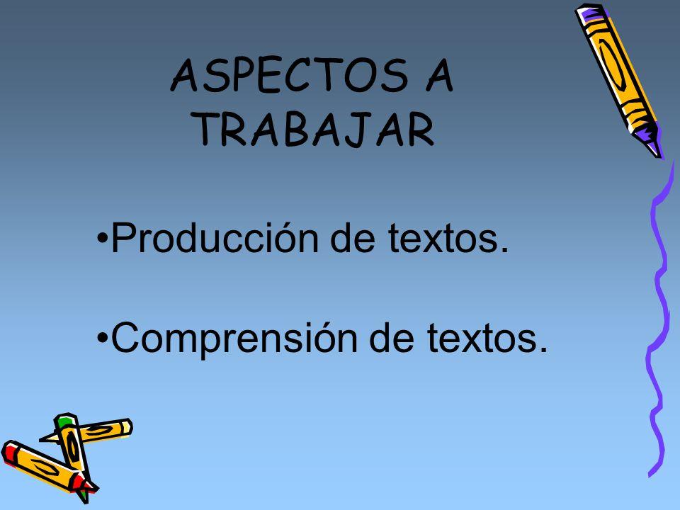 ASPECTOS A TRABAJAR Producción de textos. Comprensión de textos.