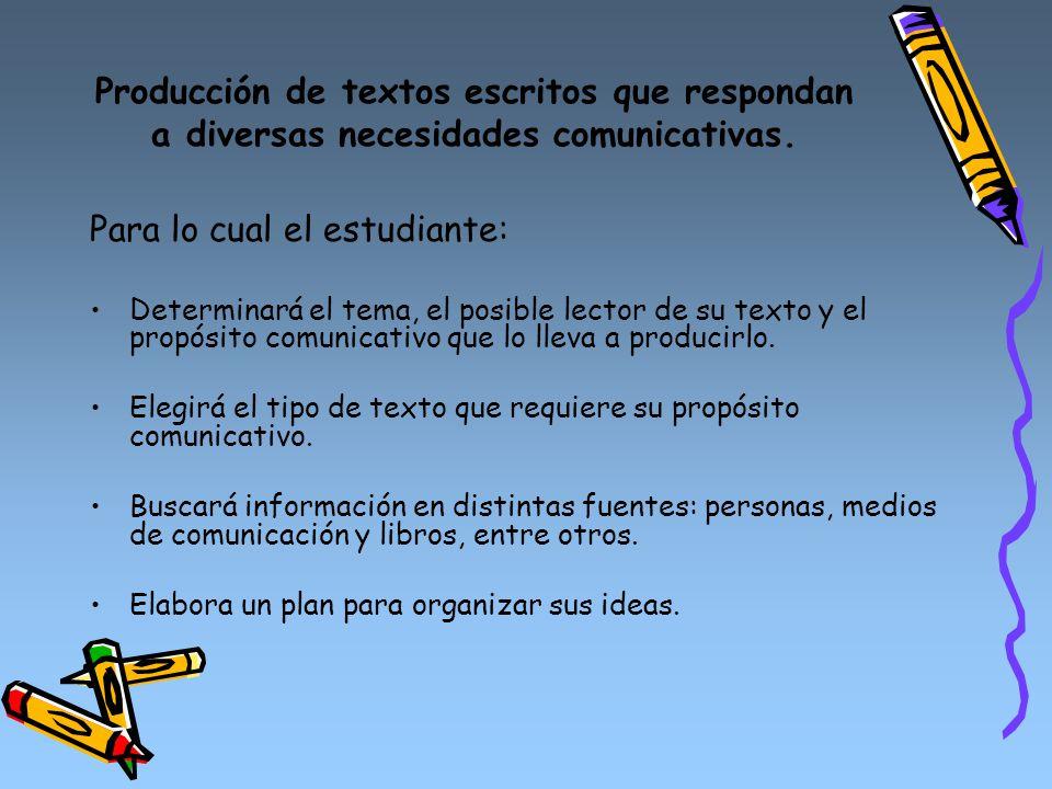 Producción de textos escritos que respondan a diversas necesidades comunicativas. Para lo cual el estudiante: Determinará el tema, el posible lector d