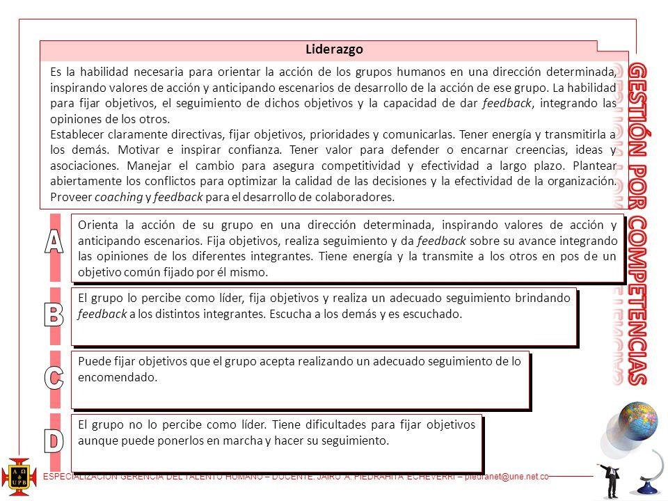 ESPECIALIZACIÓN GERENCIA DEL TALENTO HUMANO – DOCENTE: JAIRO A. PIEDRAHITA ECHEVERRI – piedranet@une.net.co Liderazgo Es la habilidad necesaria para o