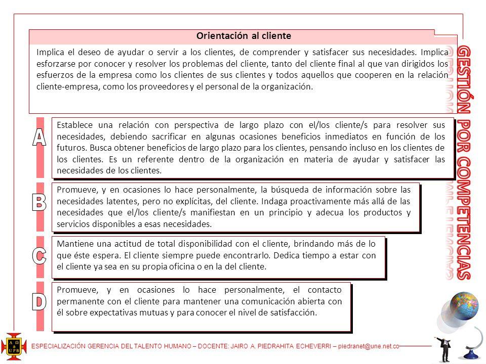 ESPECIALIZACIÓN GERENCIA DEL TALENTO HUMANO – DOCENTE: JAIRO A. PIEDRAHITA ECHEVERRI – piedranet@une.net.co Orientación al cliente Implica el deseo de