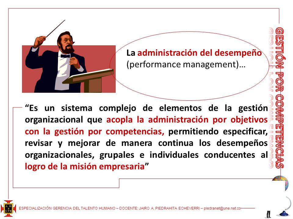 ESPECIALIZACIÓN GERENCIA DEL TALENTO HUMANO – DOCENTE: JAIRO A. PIEDRAHITA ECHEVERRI – piedranet@une.net.co La administración del desempeño (performan