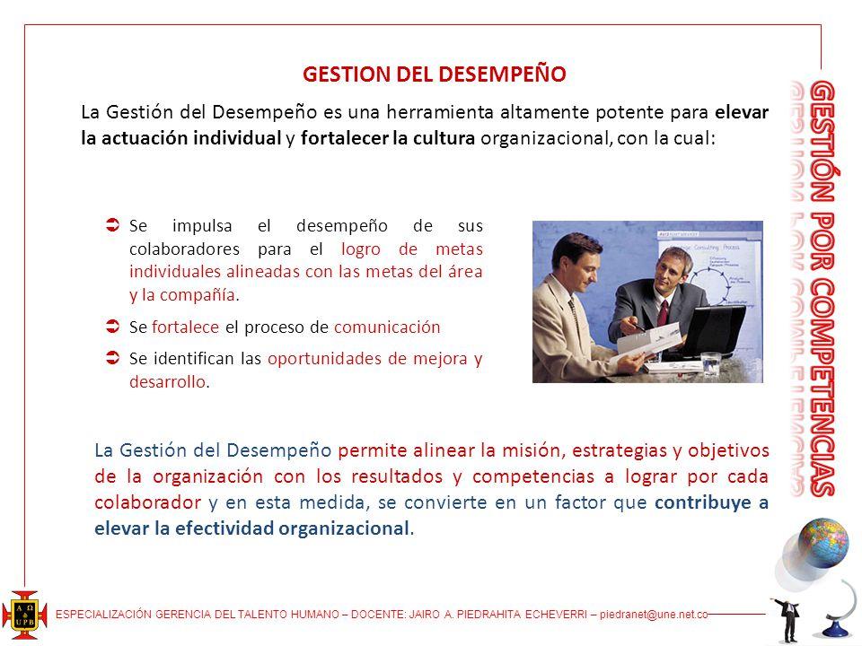 ESPECIALIZACIÓN GERENCIA DEL TALENTO HUMANO – DOCENTE: JAIRO A. PIEDRAHITA ECHEVERRI – piedranet@une.net.co La Gestión del Desempeño es una herramient