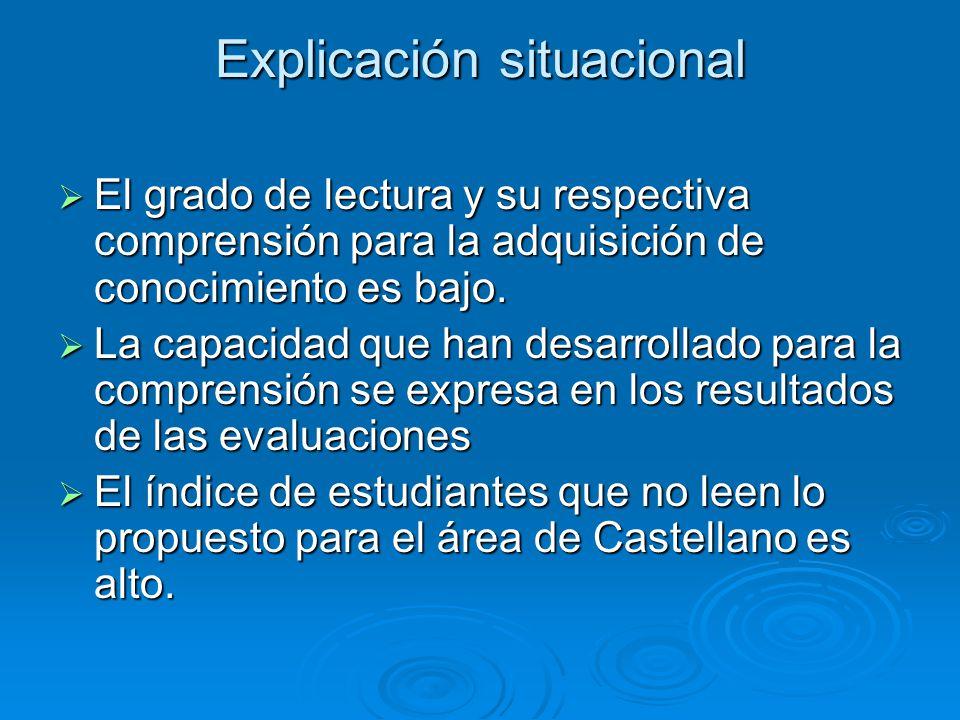 Explicación situacional El grado de lectura y su respectiva comprensión para la adquisición de conocimiento es bajo. El grado de lectura y su respecti