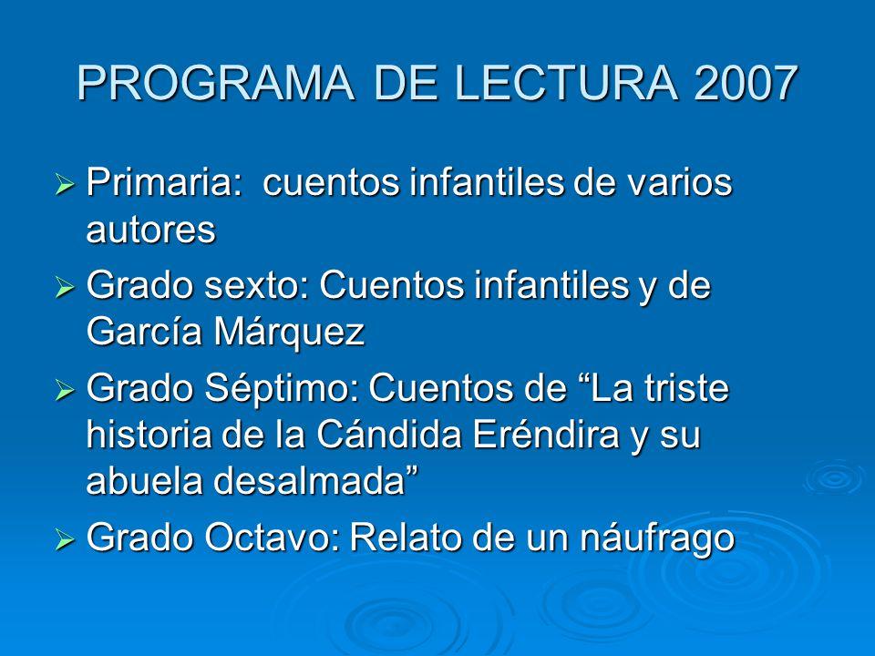 PROGRAMA DE LECTURA 2007 Primaria: cuentos infantiles de varios autores Primaria: cuentos infantiles de varios autores Grado sexto: Cuentos infantiles