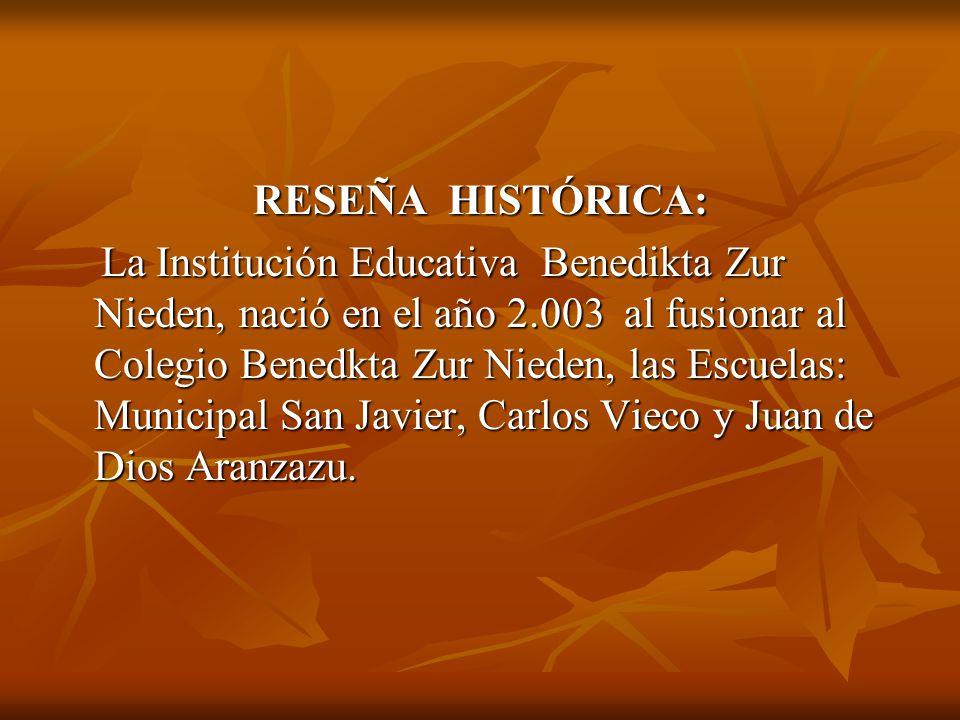 RESEÑA HISTÓRICA: La Institución Educativa Benedikta Zur Nieden, nació en el año 2.003 al fusionar al Colegio Benedkta Zur Nieden, las Escuelas: Municipal San Javier, Carlos Vieco y Juan de Dios Aranzazu.