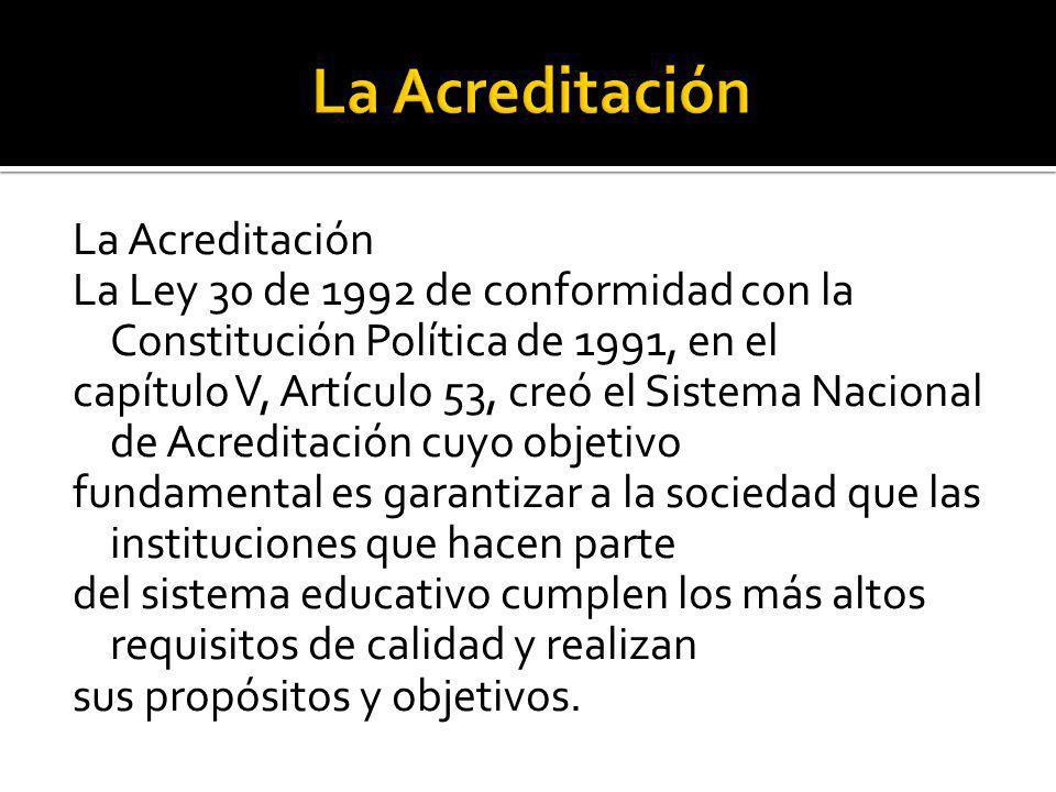 La Acreditación La Ley 30 de 1992 de conformidad con la Constitución Política de 1991, en el capítulo V, Artículo 53, creó el Sistema Nacional de Acre