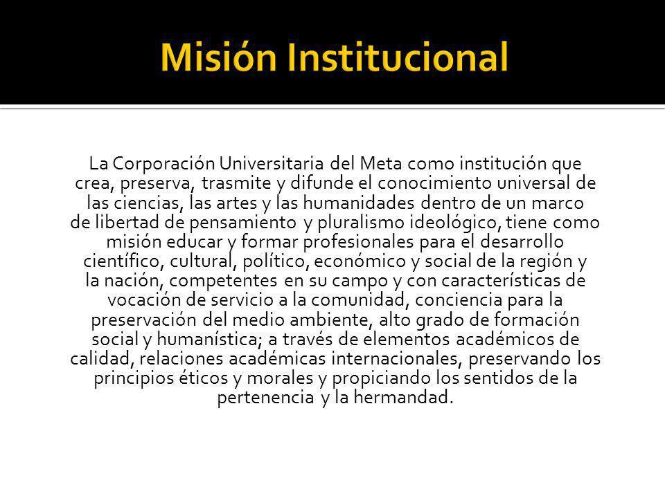 La Corporación Universitaria del Meta ha fijado la Visión en los siguientes términos: La Corporación Universitaria del Meta será reconocida institucionalmente como una Universidad líder en sus procesos académicos, con capacidad para influir en el desarrollo regional y nacional.