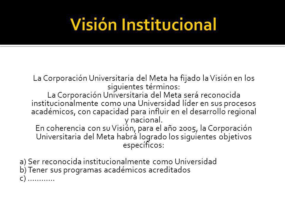 La Corporación Universitaria del Meta ha fijado la Visión en los siguientes términos: La Corporación Universitaria del Meta será reconocida institucio