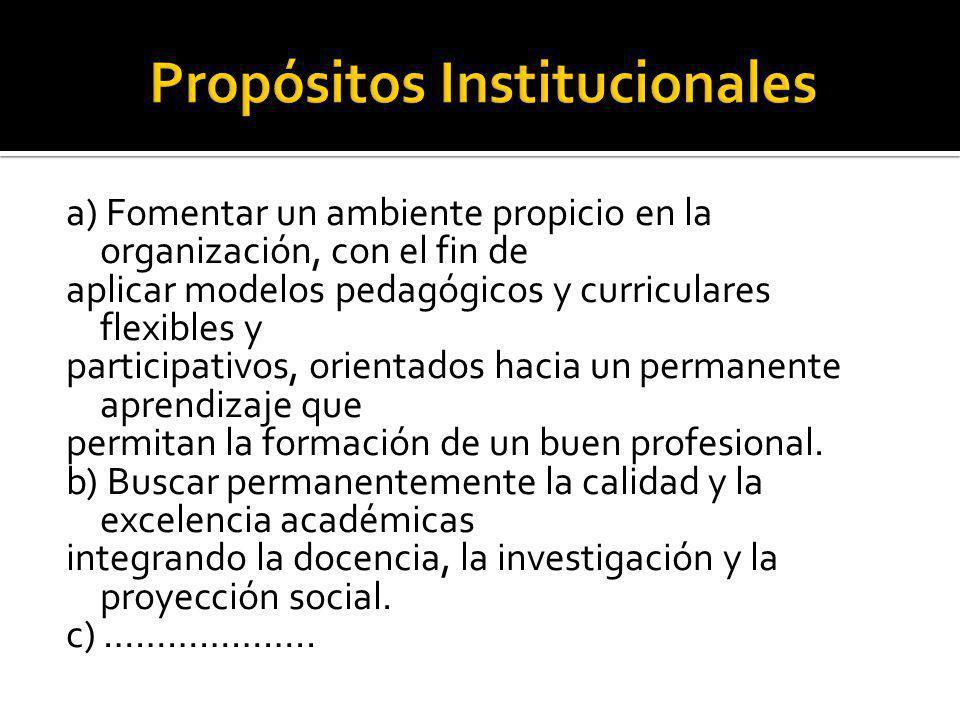 a) Fomentar un ambiente propicio en la organización, con el fin de aplicar modelos pedagógicos y curriculares flexibles y participativos, orientados h