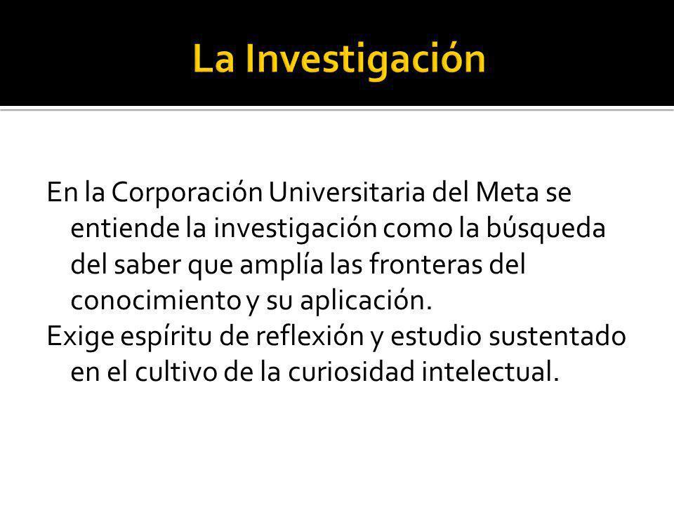 En la Corporación Universitaria del Meta se entiende la investigación como la búsqueda del saber que amplía las fronteras del conocimiento y su aplica