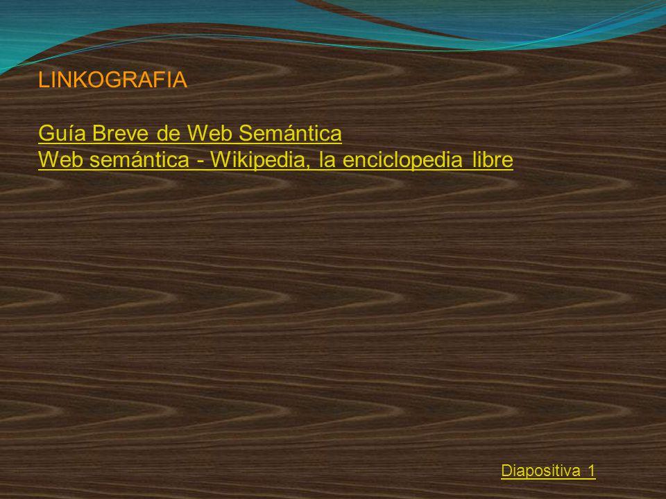 LINKOGRAFIA Guía Breve de Web Semántica Web semántica - Wikipedia, la enciclopedia libre Diapositiva 1