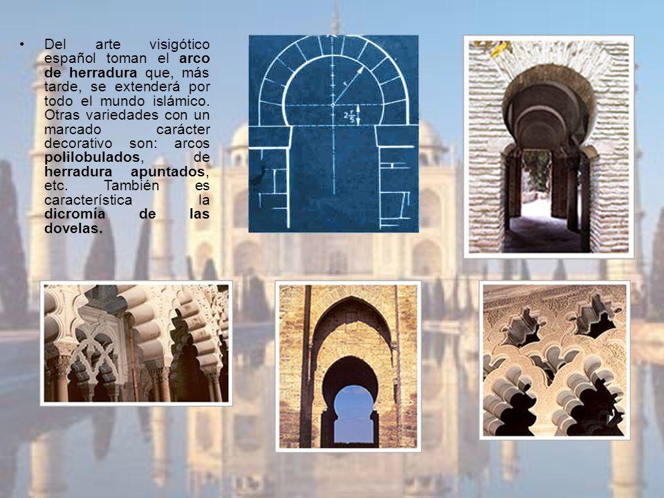 Del arte visigótico español toman el arco de herradura que, más tarde, se extenderá por todo el mundo islámico. Otras variedades con un marcado caráct