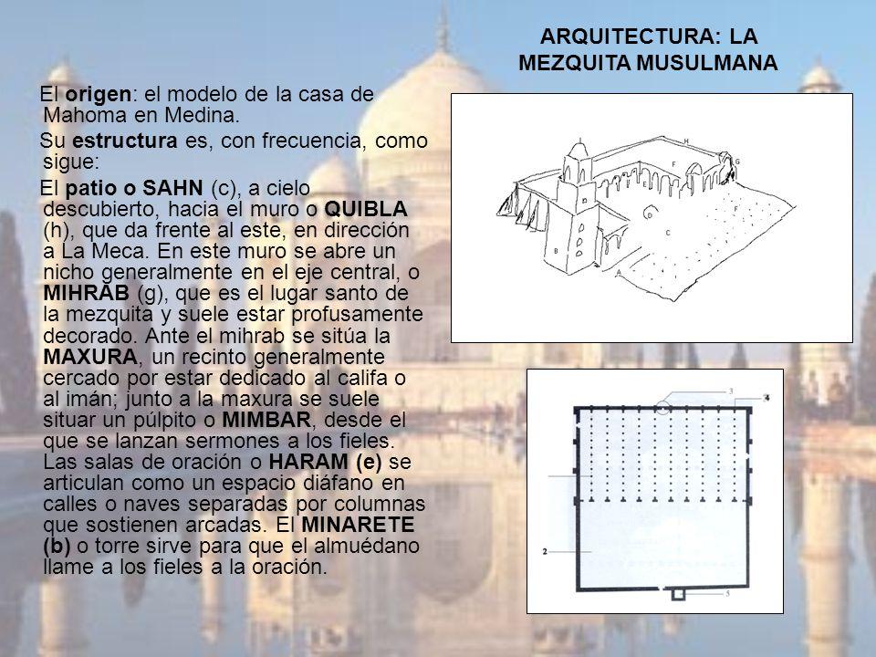 ARQUITECTURA: LA MEZQUITA MUSULMANA El origen: el modelo de la casa de Mahoma en Medina. Su estructura es, con frecuencia, como sigue: El patio o SAHN