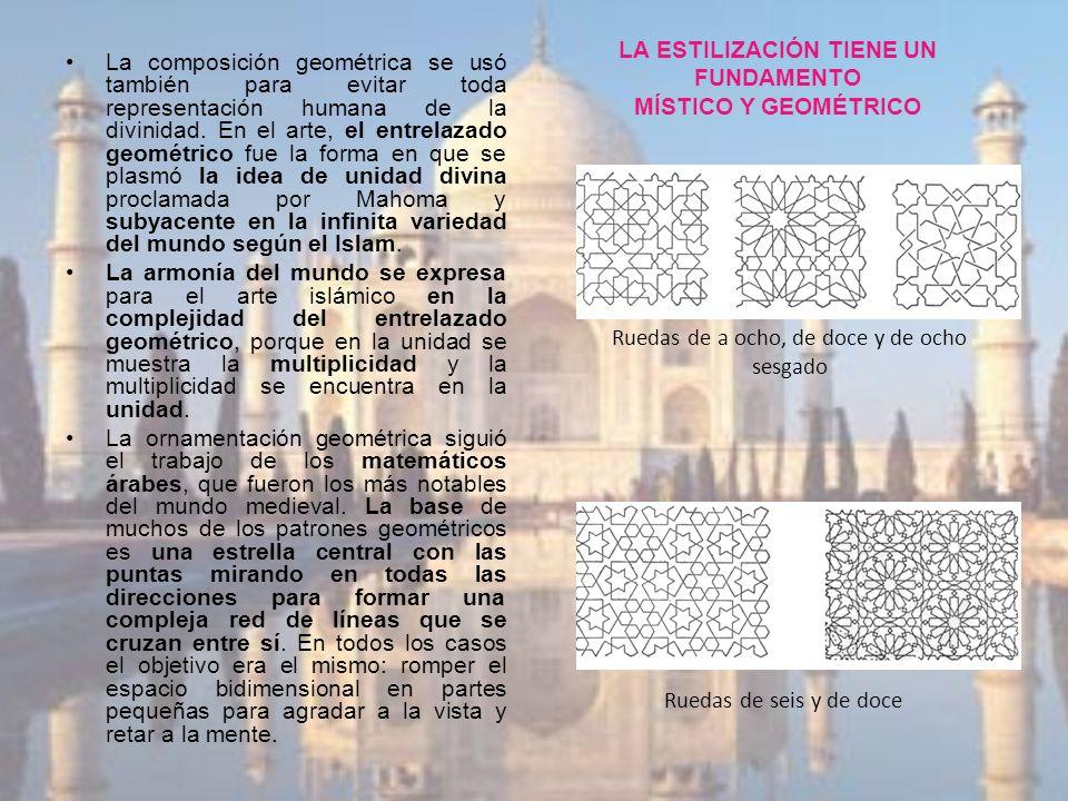 LA ESTILIZACIÓN TIENE UN FUNDAMENTO MÍSTICO Y GEOMÉTRICO La composición geométrica se usó también para evitar toda representación humana de la divinid