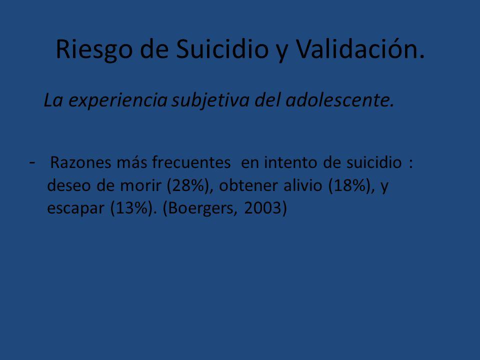 Riesgo de Suicidio y Validación. La experiencia subjetiva del adolescente. - Razones más frecuentes en intento de suicidio : deseo de morir (28%), obt