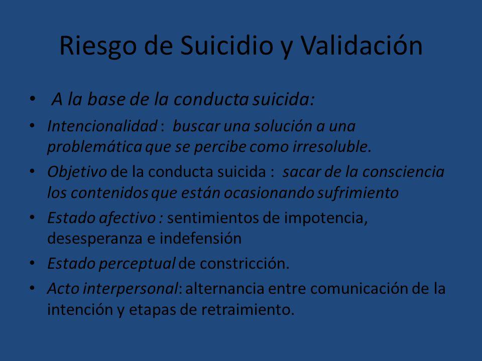 Riesgo de Suicidio y Validación A la base de la conducta suicida: Intencionalidad : buscar una solución a una problemática que se percibe como irresol