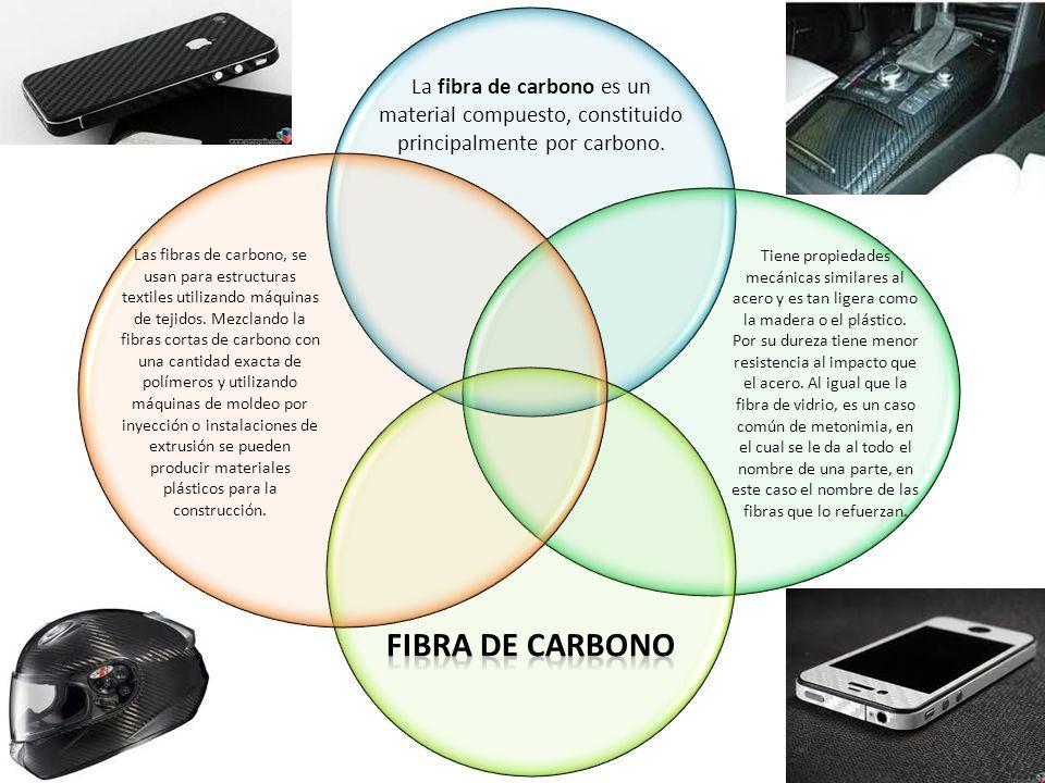 La fibra de carbono es un material compuesto, constituido principalmente por carbono. Tiene propiedades mecánicas similares al acero y es tan ligera c