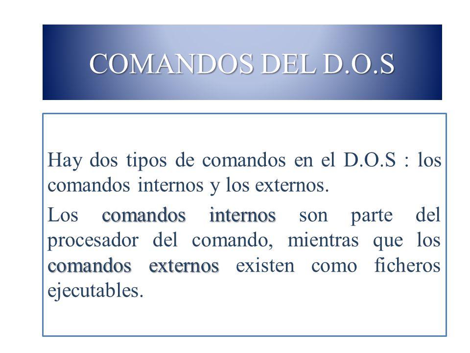 COMANDOS DEL D.O.S Hay dos tipos de comandos en el D.O.S : los comandos internos y los externos. comandos internos comandos externos Los comandos inte