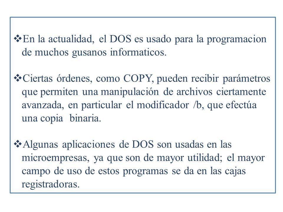 En la actualidad, el DOS es usado para la programacion de muchos gusanos informaticos. Ciertas órdenes, como COPY, pueden recibir parámetros que permi