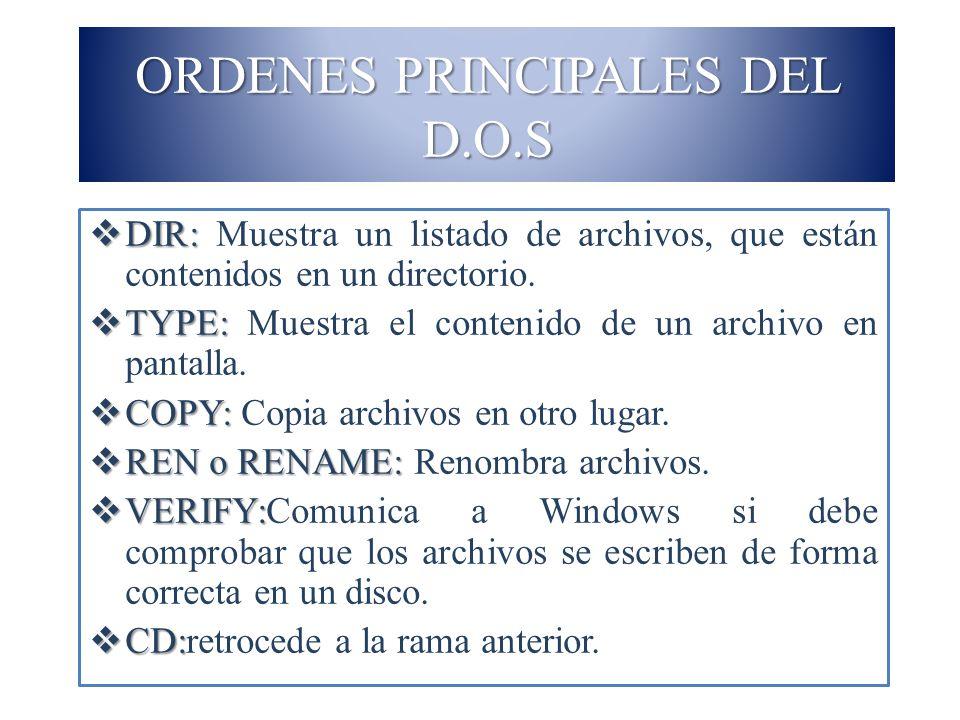 ORDENES PRINCIPALES DEL D.O.S DIR: DIR: Muestra un listado de archivos, que están contenidos en un directorio. TYPE: TYPE: Muestra el contenido de un