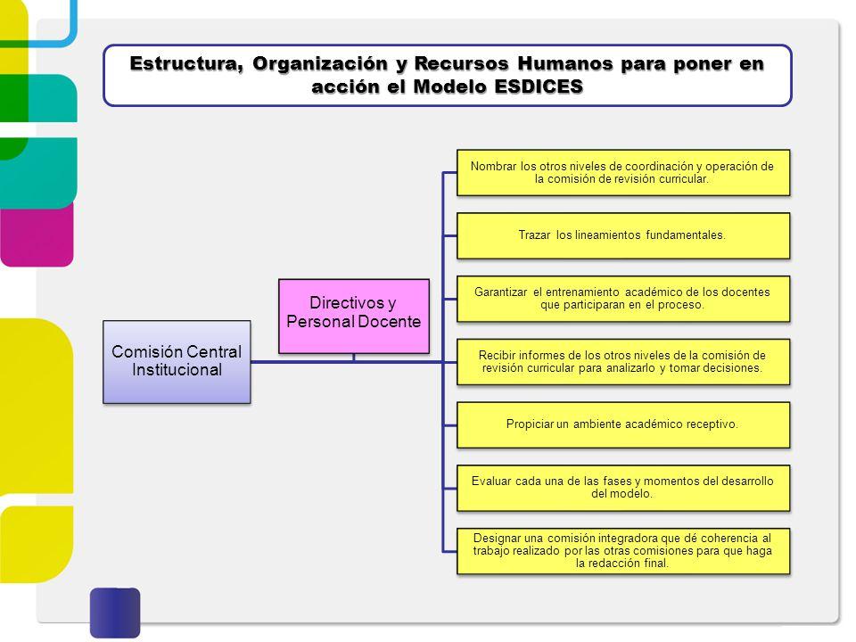 Estructura, Organización y Recursos Humanos para poner en acción el Modelo ESDICES Comisión Central Institucional Nombrar los otros niveles de coordin