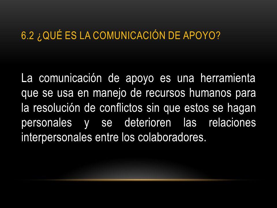 6.2 ¿QUÉ ES LA COMUNICACIÓN DE APOYO? La comunicación de apoyo es una herramienta que se usa en manejo de recursos humanos para la resolución de confl