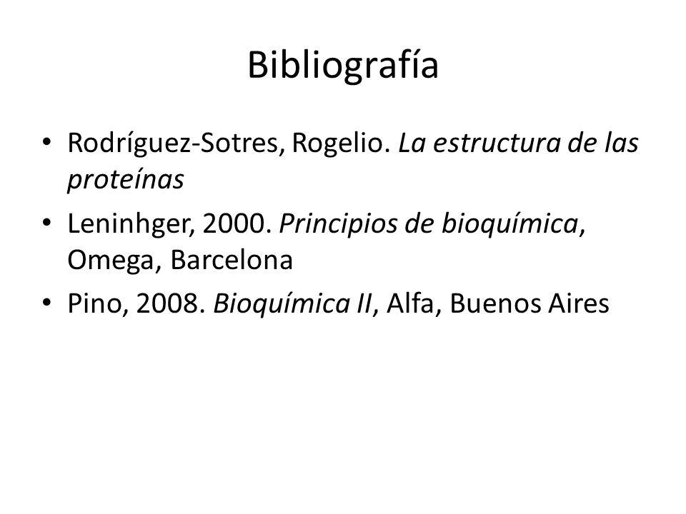 Bibliografía Rodríguez-Sotres, Rogelio. La estructura de las proteínas Leninhger, 2000. Principios de bioquímica, Omega, Barcelona Pino, 2008. Bioquím