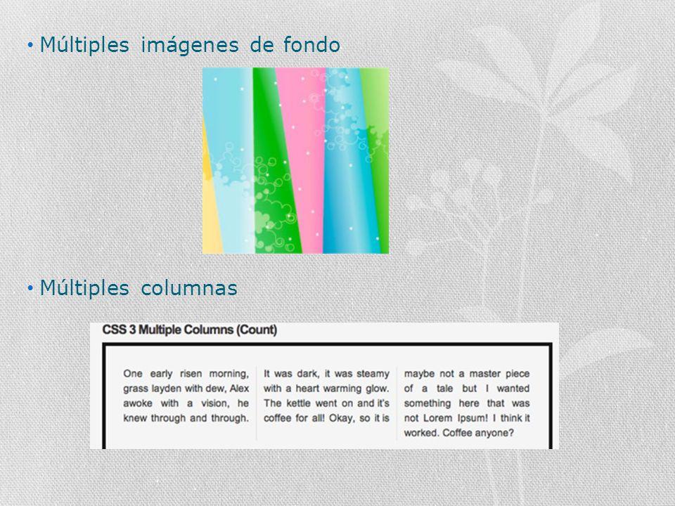 Múltiples imágenes de fondo Múltiples columnas
