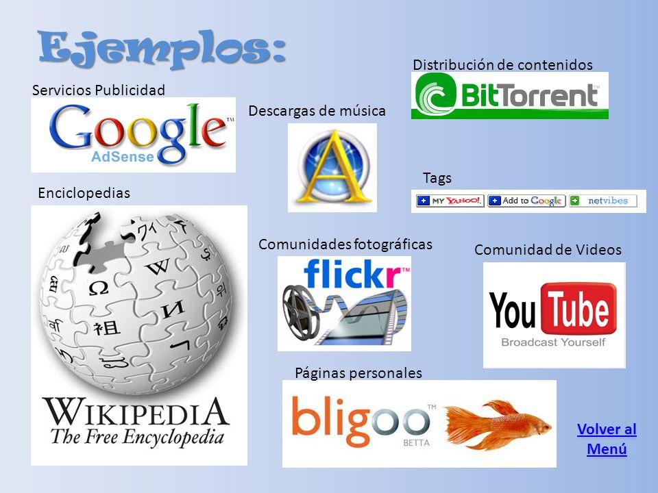 Ejemplos: Comunidades fotográficas Servicios Publicidad Distribución de contenidos Descargas de música Enciclopedias Páginas personales Tags Volver al