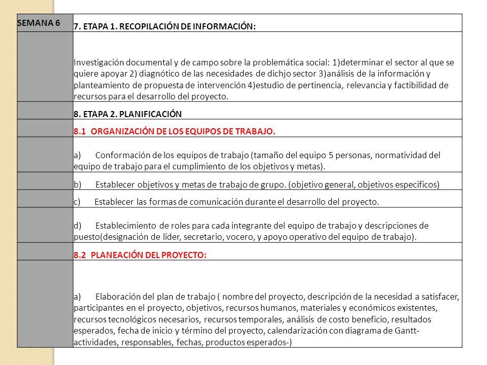 SEMANA 6 7. ETAPA 1. RECOPILACIÓN DE INFORMACIÓN: Investigación documental y de campo sobre la problemática social: 1)determinar el sector al que se q