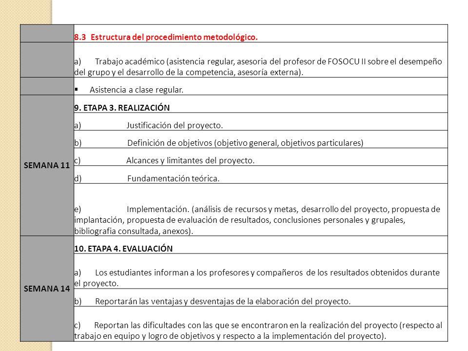 8.3 Estructura del procedimiento metodológico. a) Trabajo académico (asistencia regular, asesoria del profesor de FOSOCU II sobre el desempeño del gru