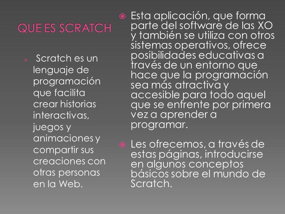 Scratch es un lenguaje de programación que facilita crear historias interactivas, juegos y animaciones y compartir sus creaciones con otras personas en la Web.