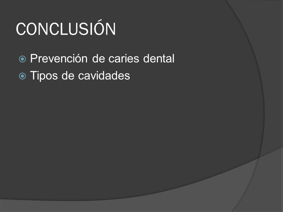 CONCLUSIÓN Prevención de caries dental Tipos de cavidades