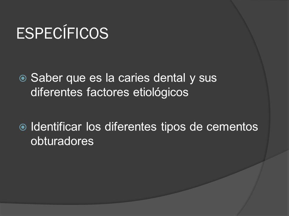 ESPECÍFICOS Saber que es la caries dental y sus diferentes factores etiológicos Identificar los diferentes tipos de cementos obturadores
